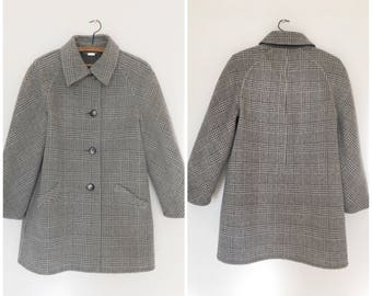 Reversible gray checkered wool coat size S | A.C Nemil Firenze made in Italy woolen peacoat
