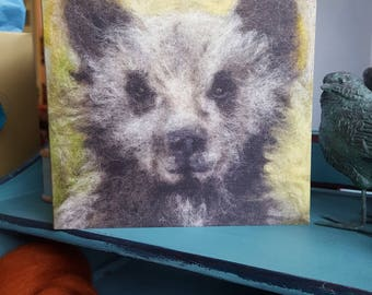 Needle felted bear cub card 14 x 14 cm