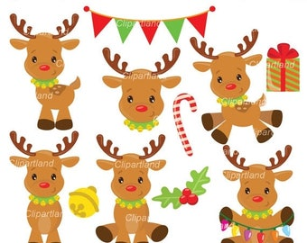 ON SALE INSTANT Download. Ccr_17_Christmas_Reindeer. Reindeer clip art. Personal and commercial use.