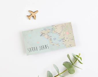 Map and Spots Folded Wedding Place Card
