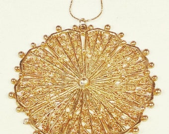 Upcycled Tribal Sun Necklace In Vintage Yellow Gold Filigree Medallion Handmade Jewelry By NorthCoastCottage Jewelry Design & Vintage