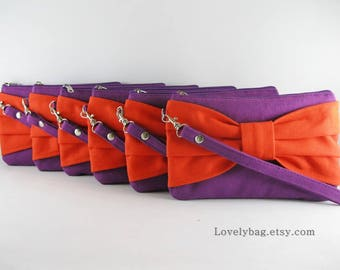 SUPER SALE - Set of 9 Eggplant Purple with Orange Bow Clutches - Bridal Clutch,Bridesmaid Wristlet,Wedding Gift,Zipper Pouch - Made To Order