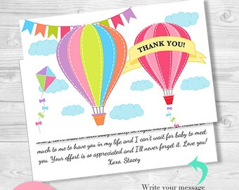 Printable Thank you cards Air Balloon Baby Shower Thank you notes - INSTANT DOWNLOAD