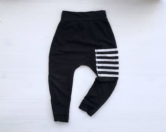 Baby Harem Pants   Grow With Me Pants   Baby Harems   Baby Joggers   Hipster Baby Pants   Toddler Harem Pants   Black Pocket Baby Harems