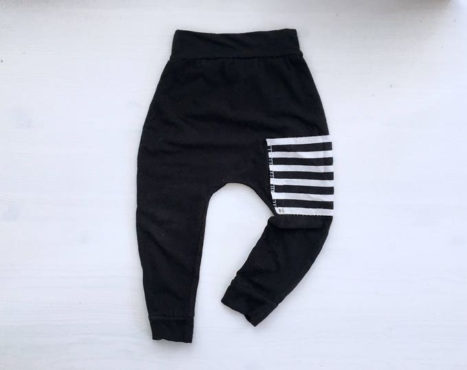 Featured listing image: Black Sidecar Pocket Baby + Toddler Harem Pants/ Leggings