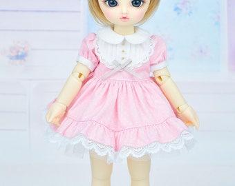 Limited : Pastel pink dot dress for Yo-SD