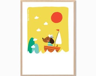 DOG   Sausage Dog On A Boat Poster : Modern Illustration Art Wall Decor Print