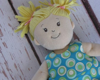 "Dress fits Baby Stella 15"" dolls-Reversible-2 in 1 dress-Green Blue Gold Circles on Turquoise-Reverse is Green Aqua Turquoise stripe"