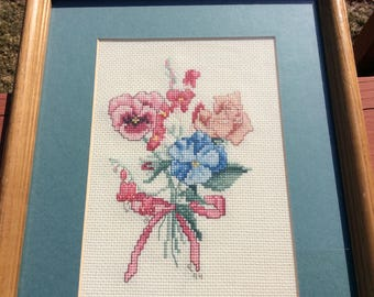 Vintage cross stitch pansies framed picture