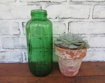 Depression Green Juice Water Bottle Vintage Refrigerator Carafe No Lid