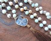 Amazonit Druzy Mala Halskette, Rosenkranz Quaste Halskette, 108 Gebetsperlen, Heilung Halskette, Yoga Armband, Chakra-Halskette, buddhistischen Armband