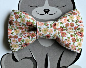 Peach Floral Bow Tie for Cat or Dog, Pet Clothing, Slide on Collar Accessory, Pet Bowtie, Handmade in Canada, Collar NOT included, Flowers