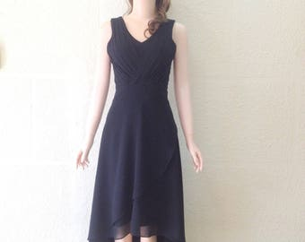 Black Bridesmaid Dress. Black Evening Dress. Chiffon Knee Length Dress.
