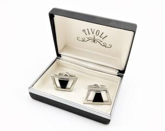 1950s-60s Modernist Cufflinks Men's Vintage Silver Tone Metal & Black Glass Mid Century Modern Mad Men Era Cufflink Set by FOSTER