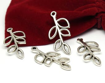 5 pendants charms branch silver 34mm x 15mm in size