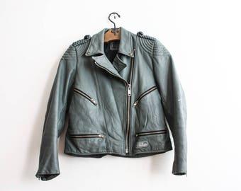 RESERVED____Gray Biker Jacket 80s Motorcycle Leather Jacket Silver Moto Outerwear Fall Season Punk Grunge Veste De Motard Cuir