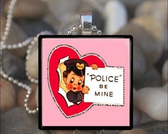 10% OFF JUNE SALE : Police Be Mine Vintage Valentine Hearts Love Glass Tile Pendant Necklace Keyring