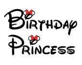 Minnie Birthday Princess Custom Iron on Transfer Decal(iron on transfer, not digital download) Family Matching Disney