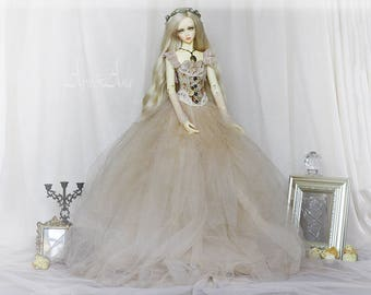 Soft Mist OOAK handmade dress set for bjd dollfie sd sd16 clothing clothes doll size fantasy ballgown romantic lace style corset skirt
