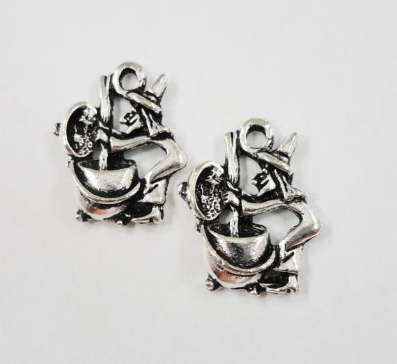 Silver Witch Pendants 18x15mm Antique Silver Witch Charms, Halloween Charms, Scary Charms, Silver Metal Charms for Jewelry Making, 10pcs