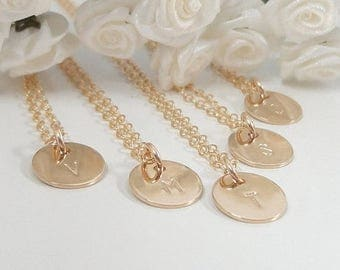 SALE - Bridesmaid Necklace Set - 14k Gold filled or Sterling silver - Bridesmaid Gifts - Personalized Necklace set
