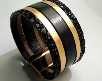 glittery gold black leather cuff black and pink with rose gold magnetic clasp