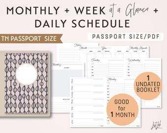 PASSPORT Size Monthly-Weekly-Daily Schedule TN Printable Booklet Insert - fits Traveler's Notebook Passport Size