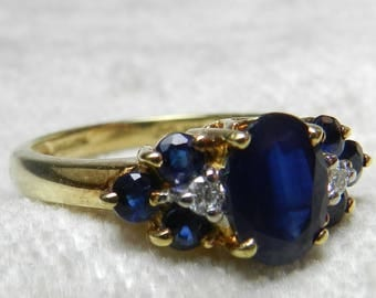 Sapphire Ring Vintage Engagement Ring Genuine Thai Blue Sapphire Diamond Engagement Ring 14K Gold, 1.5 Ct Sapphire Birthday Gifts