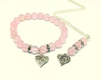 Valentines Bracelet, Valentines Jewelry Set , Valentines Jewelry Gift, Rose  Quartz Bracelet, Heart
