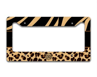 Monogrammed personalized car tag cover, Animal print license plate frame, Brown and black tiger or zebra stripe with cheetah, For Her (1282)