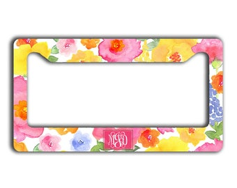 Pink floral personalized license plate frame, Pink yellow blue flowers, Monogrammed gift For Her, Pink car tag cover Pretty car decor (1787)