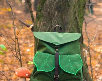 CUSTOM Leaf Bag/ Grungebag/Waterproof Bag/Boho Backpack/Hipster Backpack/Women's Rucksack/Festival Backpack/Collage Backpack/School Backpack