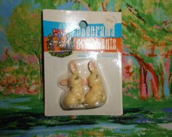 Panorama Miniature  Rabbits-Plastic-Old Store Stock