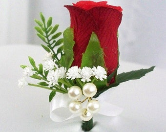 Red rose boutonniere, Red corsage boutonniere, Red flower boutonniere, Grooms boutonniere, Prom corsage, White bud wedding buttonhole mens