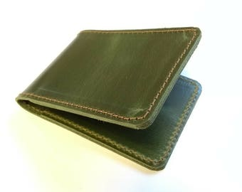 Handmade leather cardholder made in England smooth 'Ivy' forest green simple wallet artisan handcrafted  byAliceWood waxy colour movement
