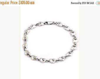 ON SALE Heart Link Charm Bracelet In Sterling Silver