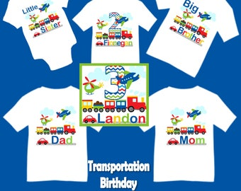 Family Matching Transportation Airplane Plane Car Helicopter Train Birthday Party T-shirt Shirt Baby Bodysuit Mom Dad Kids Boy Girl Siblings