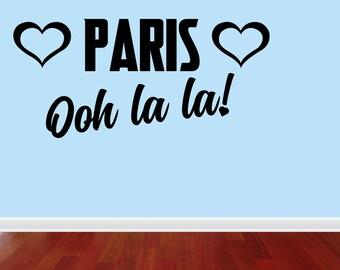 Wall Decal Quote Paris Eiffel Tower Ooh La La Wall Decal Decor France Love Hearts Wall Sticker (JP364)