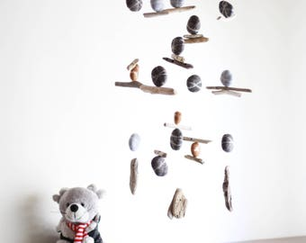 Driftwood Mobile with Felt Pebbles/Rocks/Stones -- Rustic Natural Hanging Home Decoration -- Grey, Brown, Dark Grey -- Ready to ship