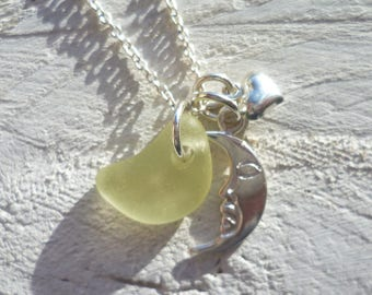 sea glass necklace - love you to the moon and back silver necklace - yellow sea glass - sea glass jewellery