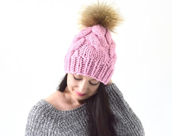 Chunky Knit Slouchy Hat Beanie Toque with Large Fur Pom Pom | The Erith
