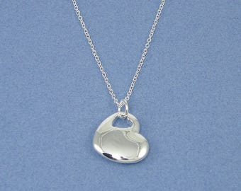 Silver Double Heart Necklace - Simple Minimalist Silver Heart Pendant Charm Necklace |NB3-2
