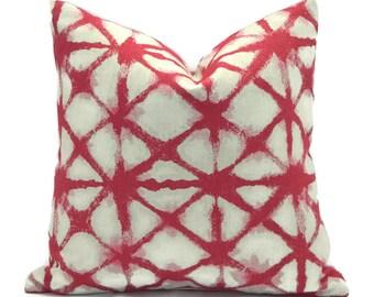 Pillow Covers ANY SIZE Pillow Cover Decorative Pillows Premier Prints Shibori Net Raspberry