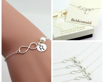 Set of 4 Sterling Silver Infinity bracelets, monogram bracelet, personalized infinity bracelet, sterling silver infinity .