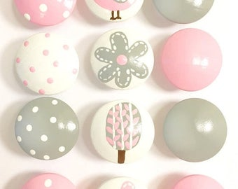 Huge Summer Sale CLEARANCE - White Drawer knob with Gray Flower and Pink  Dot - Dresser Drawer Knobs for girls room or nursery