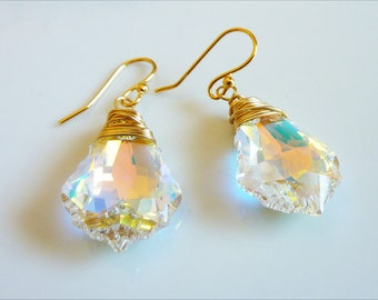 Wire Wrapped Swarovski Baroque Crystal Earrings