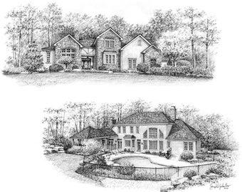 8x10 Custom Montage Home Portrait Graphite Pencil Fine Art Drawing-Housewarming First Home Anniversary Birthday Wedding