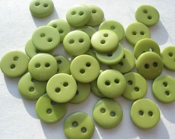 9mm Acrylic Buttons, Pack of 75 Green Buttons, A09004