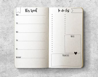 Printable Personal Planner Inserts.  Weekly Planner. Minimal Design. To do list.