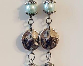 Mint 'Pearl' Disc Earrings